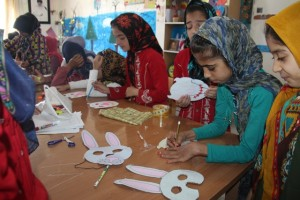 Children making masks for book characters/Read with Me in Ghaen, Khorasan