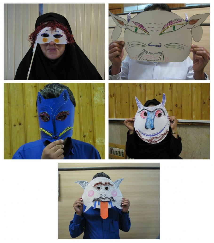 Teachers making masks in RWM workshops - Read with Me in Sirjan - Nov 2015