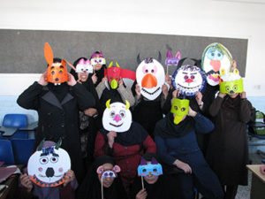 Making Masks in RWM Art Activities Workshop - Read with Me in South Khorasan - Dec 2015