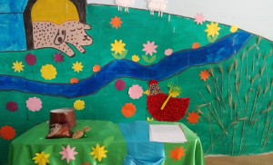 Book scene drawn by children on classroom wall - Read with Me in Zahedan - Jan 2016