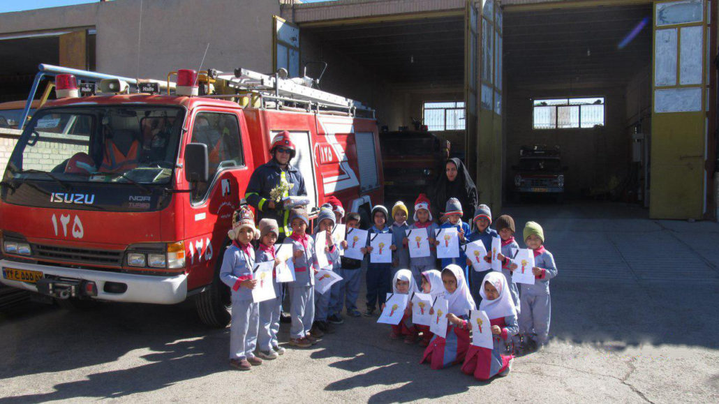 Children offered their sincere condolences for fallen firefighters by attending Khusf Fire Station - Read with Me in South Khorasan - January 2017