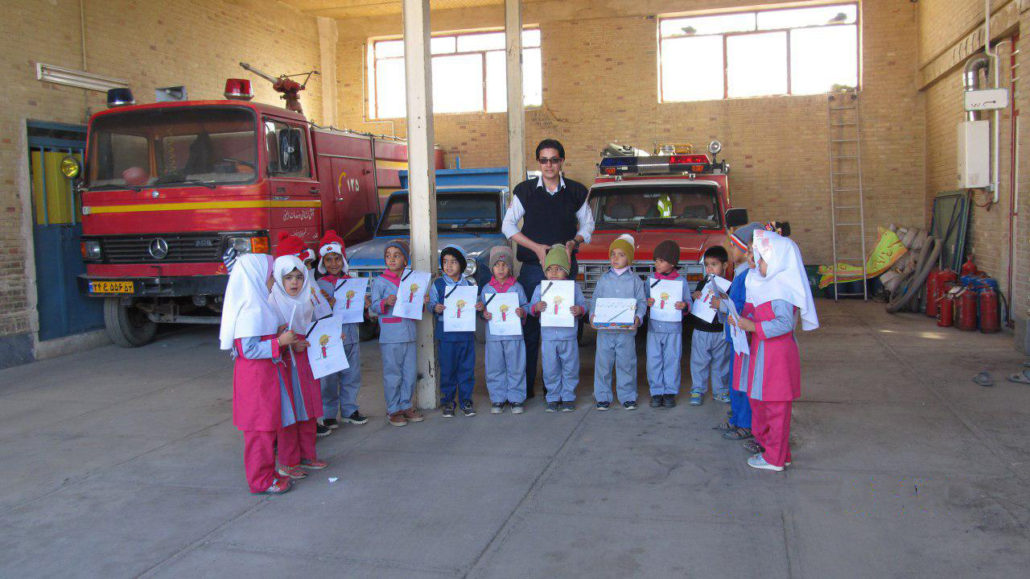 Children visited Khusf fire station and its chief officer - Read with Me in South Khorasan - January 2017