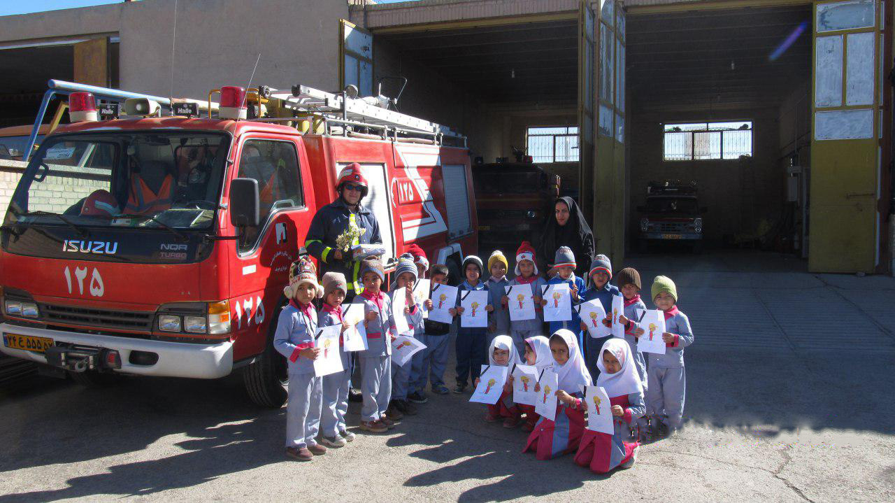 Children offered their sincere condolences for fallen firefighters by attending at Khusf Fire Station - Read with Me in South Khorasan - January 2017