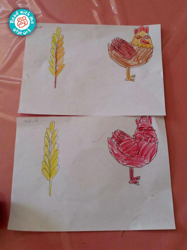 بچهها الگوی مرغ سرخ پاکوتاه و خوشه گندم را رنگآمیزی کردند